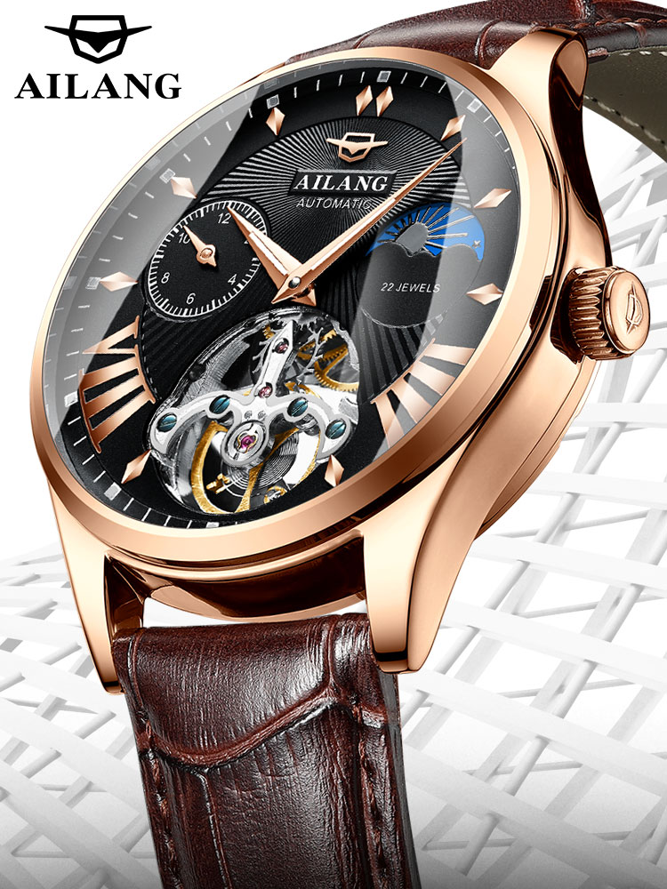 AILANG Men's Watch Steampunk Mechanical Swiss-Diesel-Watches Moon-Phase Transparent Tourbillon