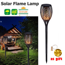 Garland Solar Flame Lamp Flickering IP65 Waterproof LED Garden Light Lawn Lamp Path Lighting Torch Light Spotlight Rechargeable недорого