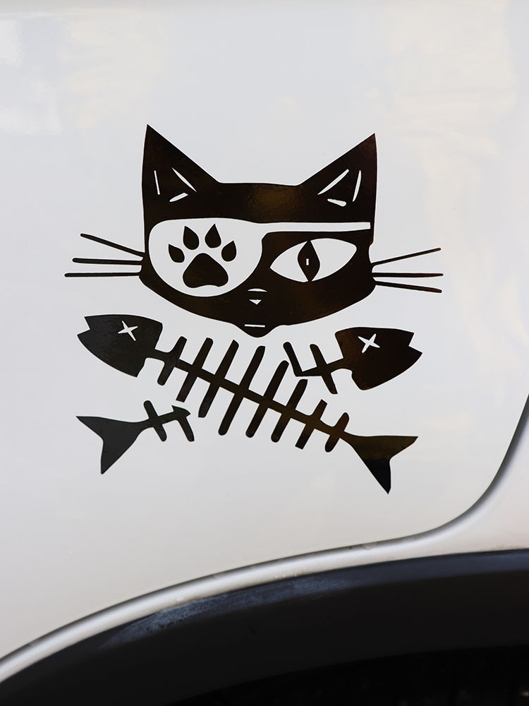 Zttzdy 15.5*15 cm horrível gato adesivo de carro halloween vinil decalque preto/prata ZJ4-0171