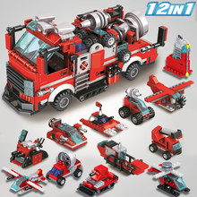 MOC creator 12 in 1 Tunnel fire truck 336pcs City Fire Fighters Police Car DIY Model Building Blocks Bricks Toys For children