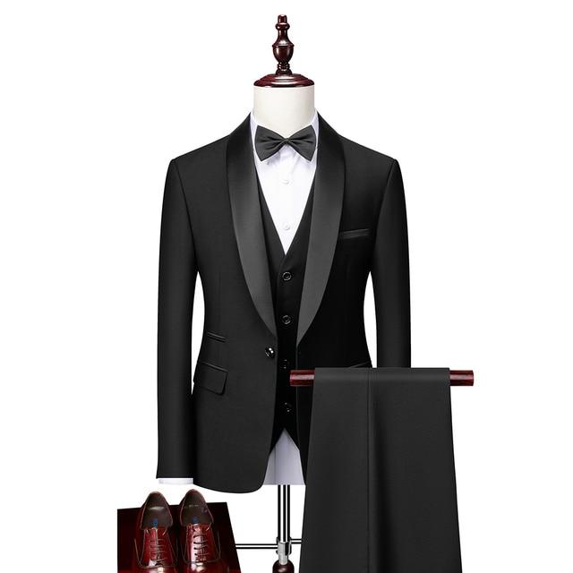 Men Skinny 3 Pieces Set Formal Slim Fit Tuxedo Prom Suit / Male Groom Wedding Blazers High Quality Dress Jacket Coat Pants Vest 2