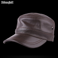 XdanqinX Adjustable Size Men's Genuine Leather Hat Army Military Hats 2019 Autumn Cowhide Leather Flat Caps For Men Snapback Cap
