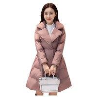Winter Jacket Women Cotton Clothing Medium and Long A type Ladies Coats Thick Warm Fashion Bowknot Decoration Bubble Coat