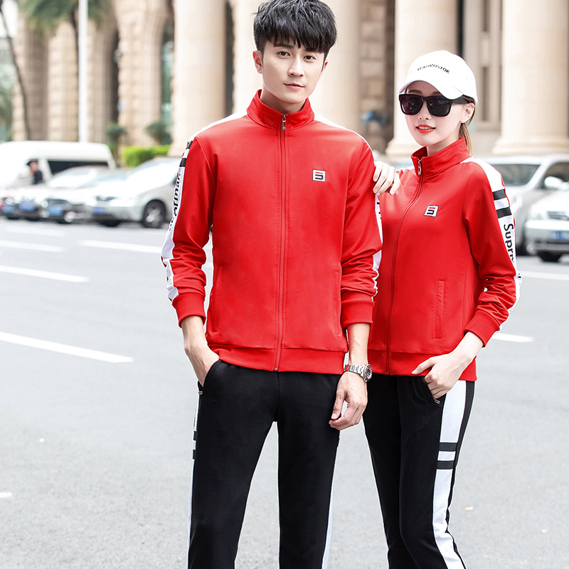 Spring, Autumn And Winter New Style Men And Women Couples Casual School Uniform Business Attire Sports Two-Piece Set Groups Outd