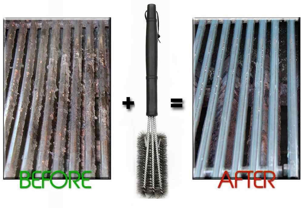 Cepillo de limpieza de parrilla de 18 pulgadas cepillo de parrilla de barbacoa 3 cepillos de acero inoxidable en 1 accesorios de barbacoa de limpieza mejor limpiador barbacoa
