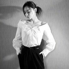Yao Kunming Star Collarbone Killing Sling Shirt Neck Sexy Shoulder-Exposed Long Sleeve Women 2019 Shirts
