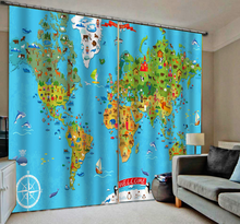 Modern Home Decoration Blackout 3D Curtain stereoscopic blue map curtains curtain