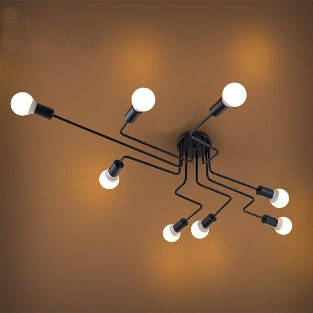 Lampe suspendue en fer forgé à plusieurs tiges, design moderne, luminaire Vintage, luminaire de plafond, ampoules E27, pendentif LED