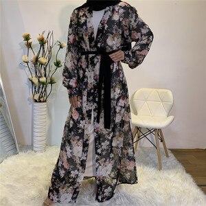 Thin Loose Chiffon Muslim Robes Long Sleeved Cardigan Abaya Dubai Casual Outerwear Long Sleeve Open Abaya Long Maxi Dress TA1619