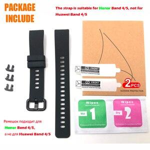 Image 5 - Pulseira de silicone para huawei honor band 4, cinta de relógio de silicone para huawei honor band 5, pulseira com película protetora