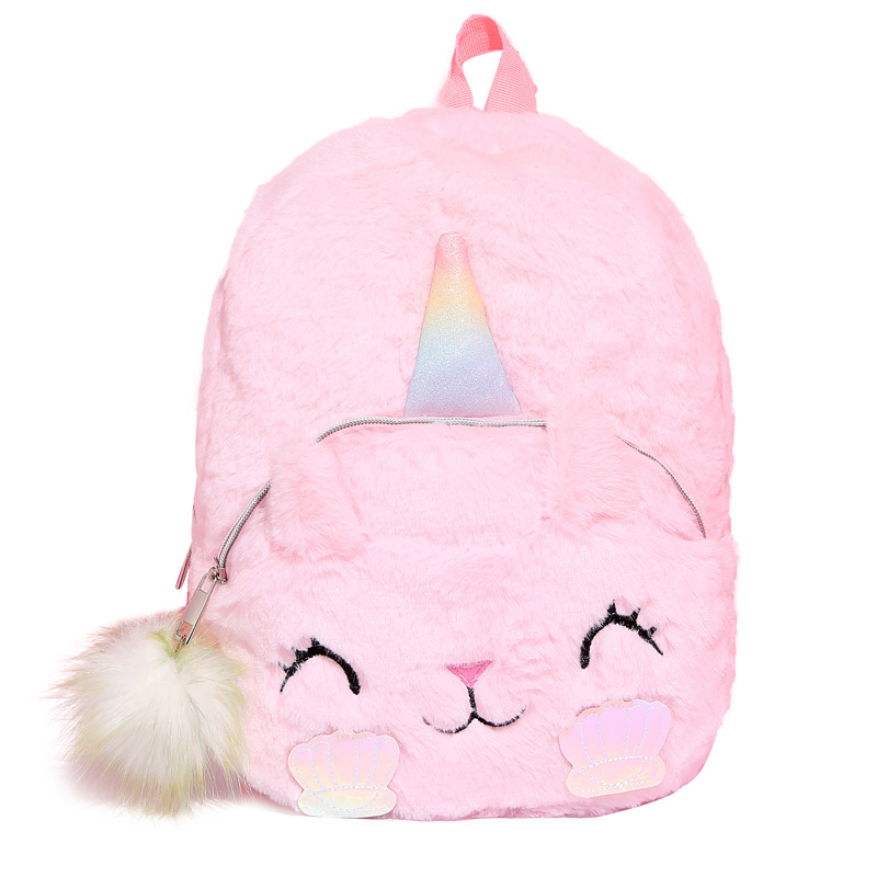 Mini Unicorn Backpack Bags For Women 2019 Winter Faux Fur Small Bagpacks Hologram Leather Teenager Schoolbag Women's Backpack