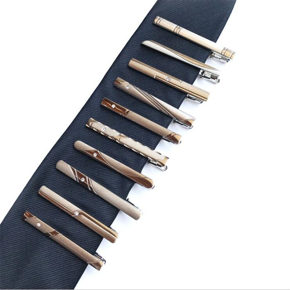 New Men's Dress Silver Tie Clips Exquisite Fashion Simple Business Tie Clip 10 Styles To Choose From