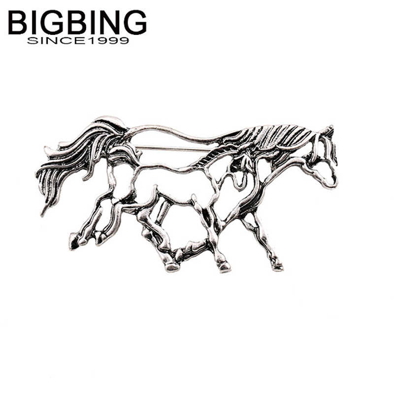 Q013 Bigbing Fashion Perhiasan Retro Silver Hollow Kuda Bros Fashion Bros Kualitas Baik Nikel Gratis