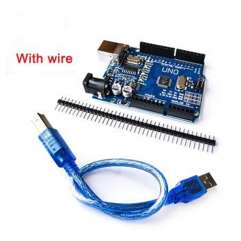 UNO R3 Development Board ATmega328P CH340G For Arduino UNO R3 With USB cable /  Pin Header / Acrylic Case uno r3 ch340g ch340 development board mega328p atmega328 atmega328p 16au module for arduino micro usb diy electronic