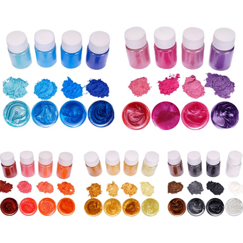 4 Pcs/set Mixed Color Resin Jewelry DIY Making Craft Glowing Powder Luminous Pigment Set Crystal Epoxy Material
