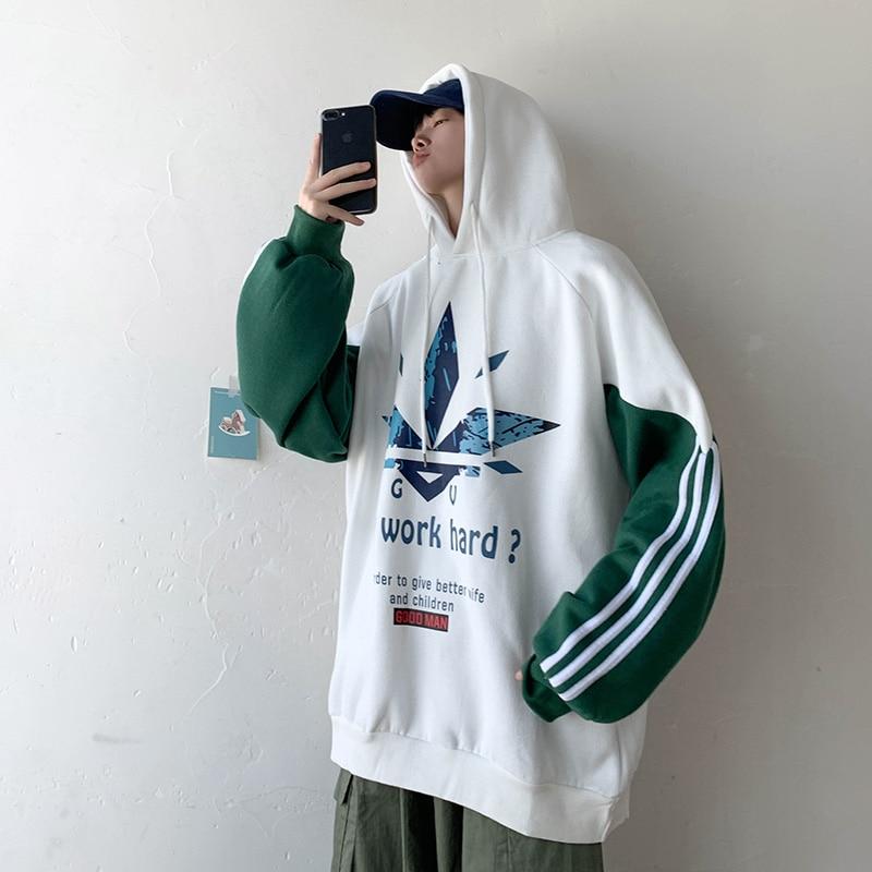 Image 5 - Мужская толстовка SingleRoad, белая толстовка в полоску, в стиле хип хоп, Японская уличная одежда, на весну 2020Толстовки и свитшоты   -