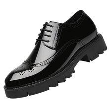 Броги мужские на высоком каблуке 8/10 см с вырезами лакированная