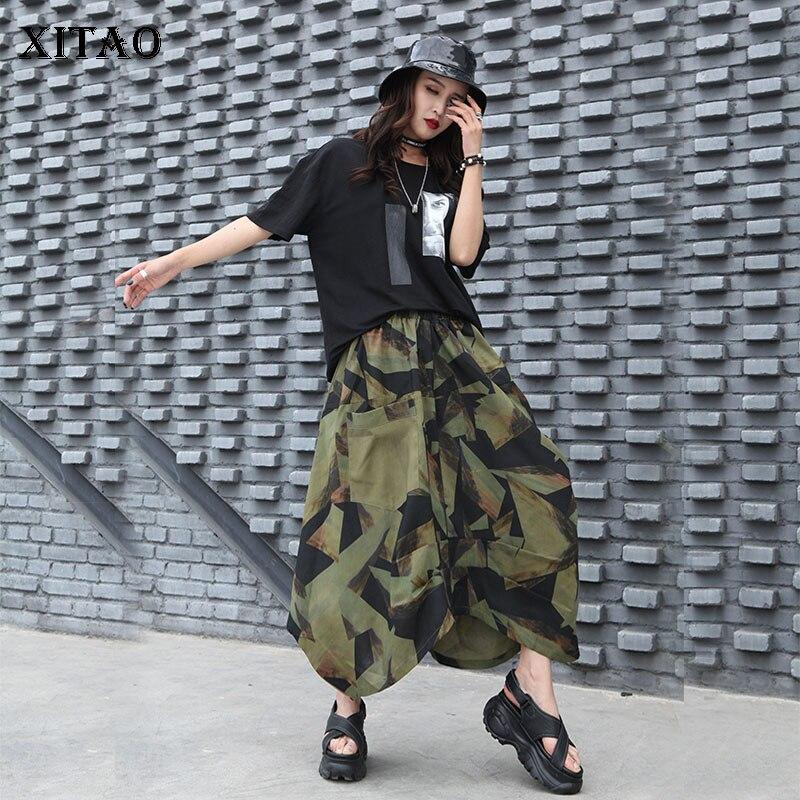 XITAO High Waist Irregular Skirt Fashion New Women Drawstring 2020 Pocket Small Fresh 2020 Spring Summer Style Skirt XJ4505
