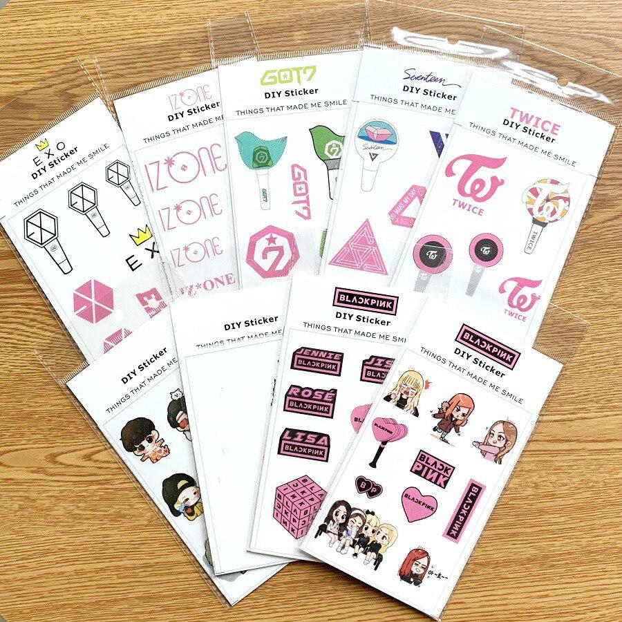 1pcs Kpop Stickers Bangtan Boys Blackpink Got7 Seventeen Blackpink Twice Exo DIY Cartoon Stickers Fans Collection K-pop Supplies