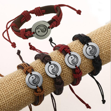 Retractable Hand Made Braided Charm Bracelet Bangles Tai Chi Ying Yang Wristband Cuff Leather For Men Women pulsera