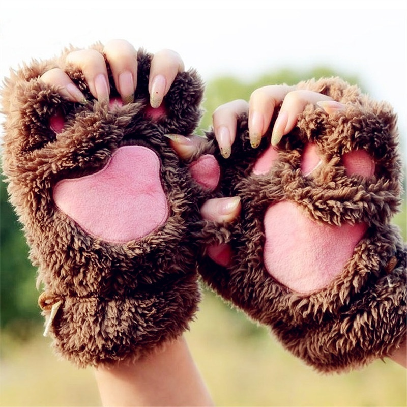 Winter Warm Gloves Women Cute Cat Paw Claw Plush Mittens Short Finger Half Gloves Women Winter Fingerless Gloves