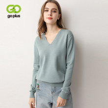 GOPLUS 2019 Autumn Knitted Womens Sweater Sexy V neck Soft Warm Long Sleeve Winter Plus Size Jumper Pull Femme