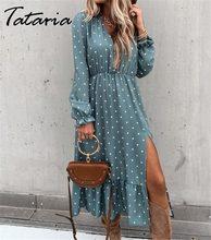 Moda polka dot midi vestido para mulher azul v-neck lanterna manga plus size vestidos paty senhoras streetwear primavera vestidos 2021