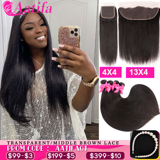 Transparent Lace Frontal With Bundles Brazilian Straight Hair Bundles With Frontal Aatifa 100% Human Virgin Hair With Closure