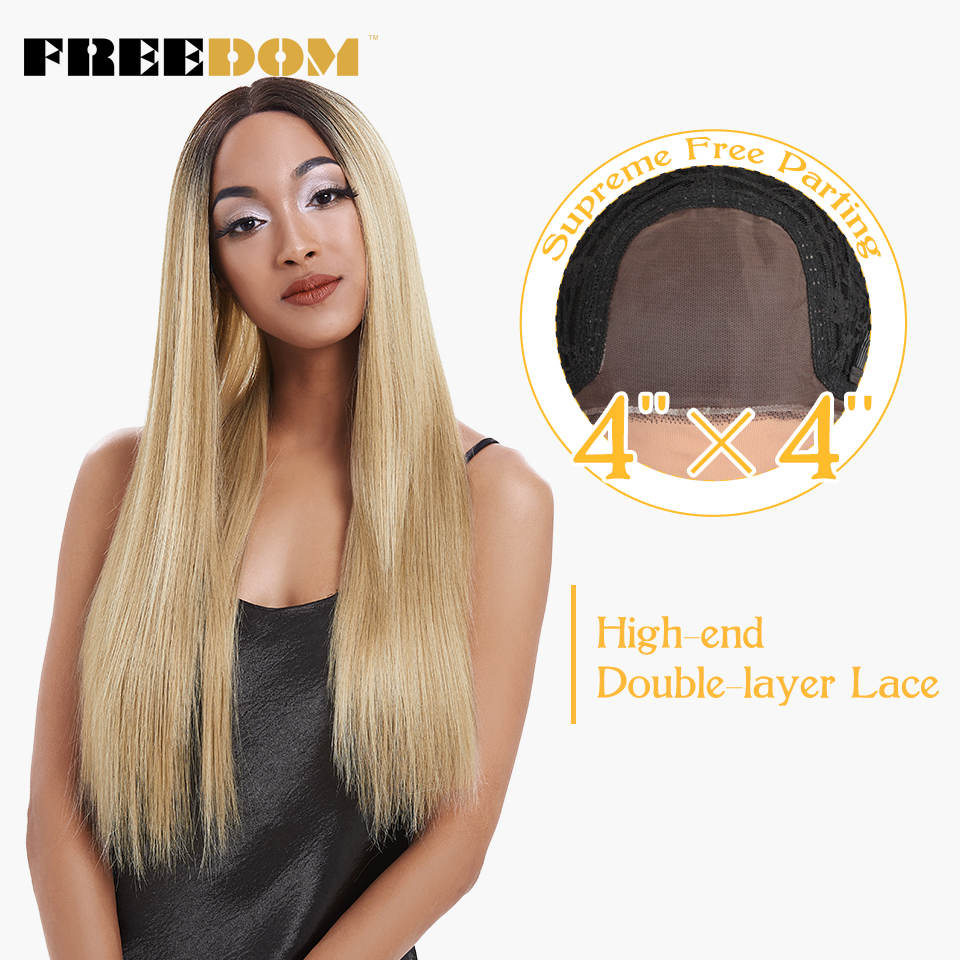 FREEDOM Free Parting Lace Frontal Wigs Synthetic With Baby Hair High Temperature Long Straight Wigs For Black Women 150% Density