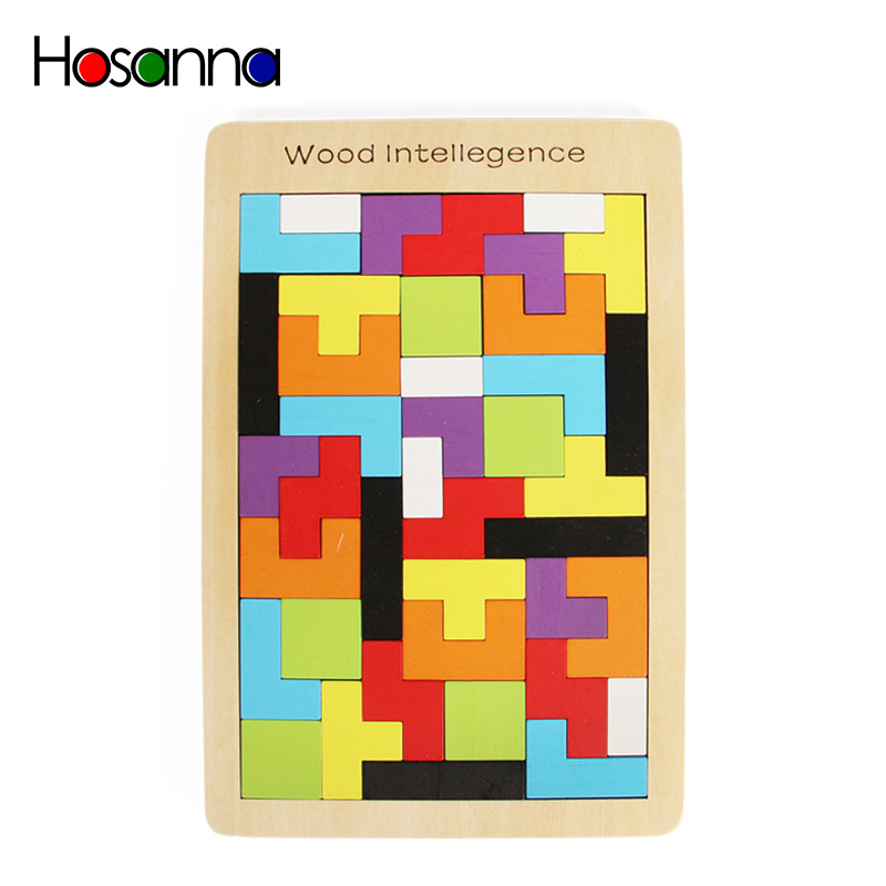 40 Pieces Colorful Wooden Intelligence Jigsaw Puzzle Game Educational Toys For Children Kids Gift