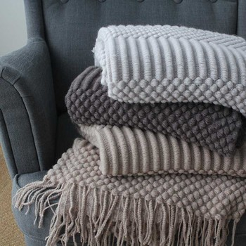 Nordic Knitted Blanket Travel Blanket Grey Khaki Sofa Throw Blanket with Tassels Air Condition Blankets 127x170cm/127x220cm