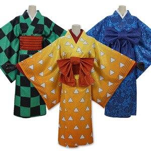 Аниме Demon Slayer kimetsu no yaiba Tanjirou Zenitsu Inosuke, костюмы для косплея, японское кимоно для женщин, униформа