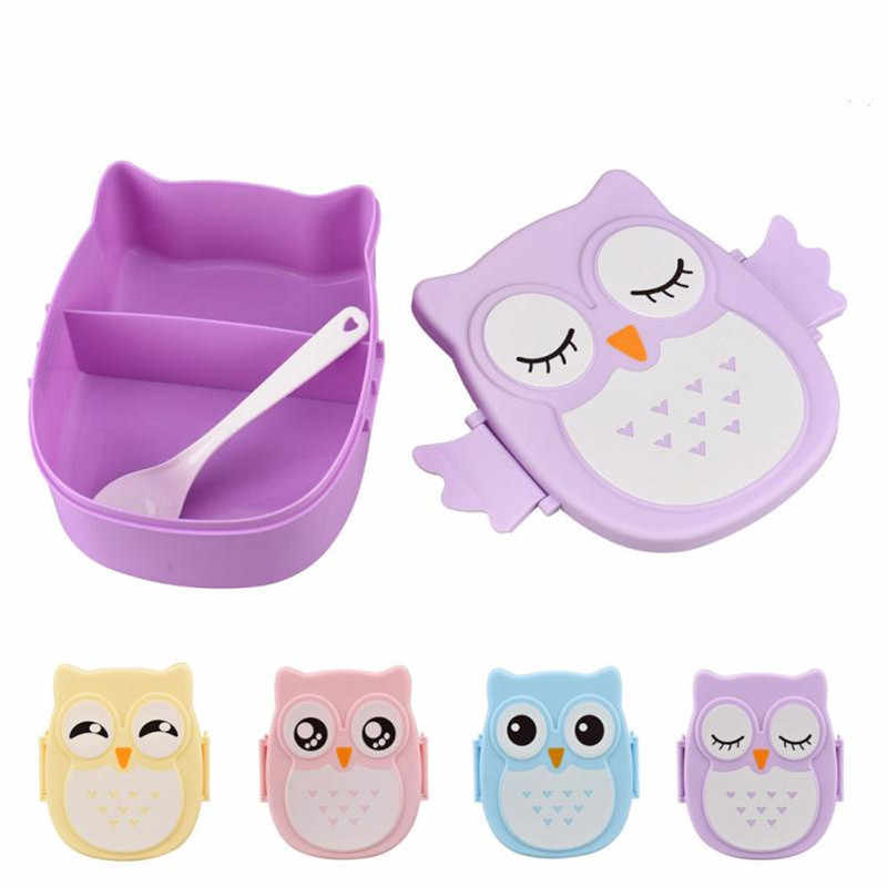 Cute Owl Lunch Box Food Container Students Office Lunch Carrier Bento Box Case With Spoon Non Toxic Lunch Cases Drop Ship #B5