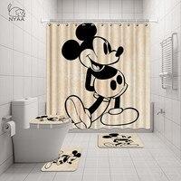 NYAA 4 Pcs Minnie & Mickey Shower Curtain Pedestal Rug Lid Toilet Cover Mat Bath Mat Set For Bathroom Decor