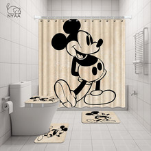 Nyaa 4 Stuks Minnie & Mickey Douchegordijn Voetstuk Tapijt Deksel Wc Cover Mat Badmat Set Voor Badkamer Decor