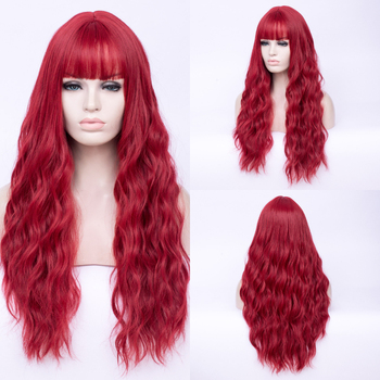 цена на Cosplay Wigs For Women Long Curly Hair Red Wig Synthetic Wig With Band Bangs Heat-resistant Rose Net