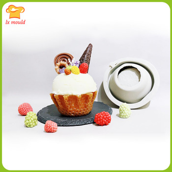 New ice cream, fruit, cream pie scented candle expansion incense special silicone mold - waffle bottom