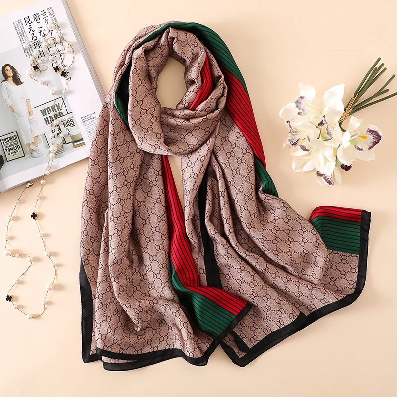 Silk Scarves Shawls Pashimina Female Soft Designer Summer Luxury Brand Wraps Beach-Stole-Bandana