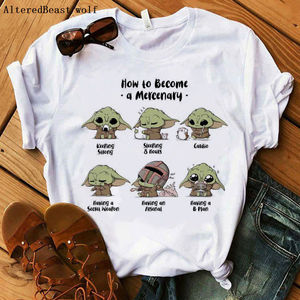 2020 Baby Yoda Mandalorian t-shirt women cartoon fashion print t shirt Women casual harajuku summer Ladies vogue lovely tshirt(China)