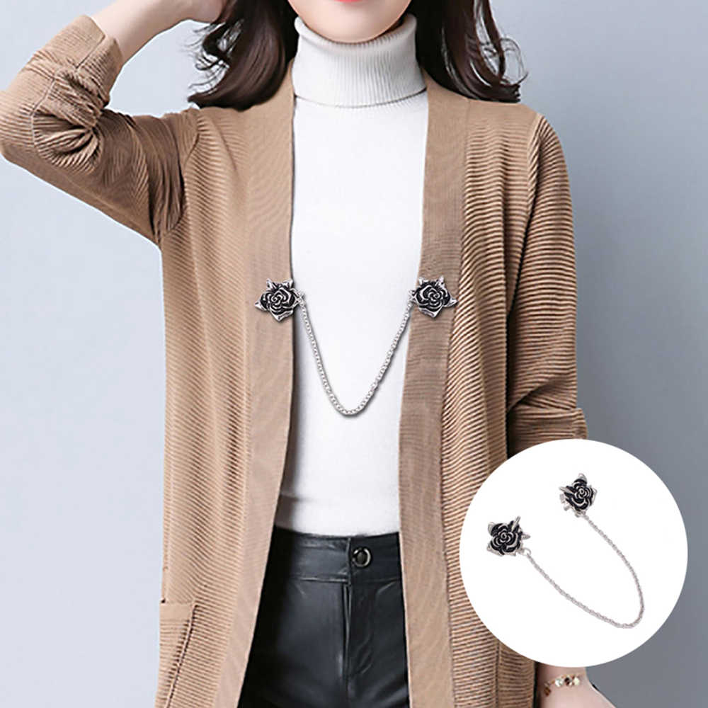 Retro Ukiran Bunga Cardigan Klip Sweater Selendang Klip Penjaga Kerah Bebek Mulut Berlapis Logam Klip Pemegang Garter Pin Aksesoris