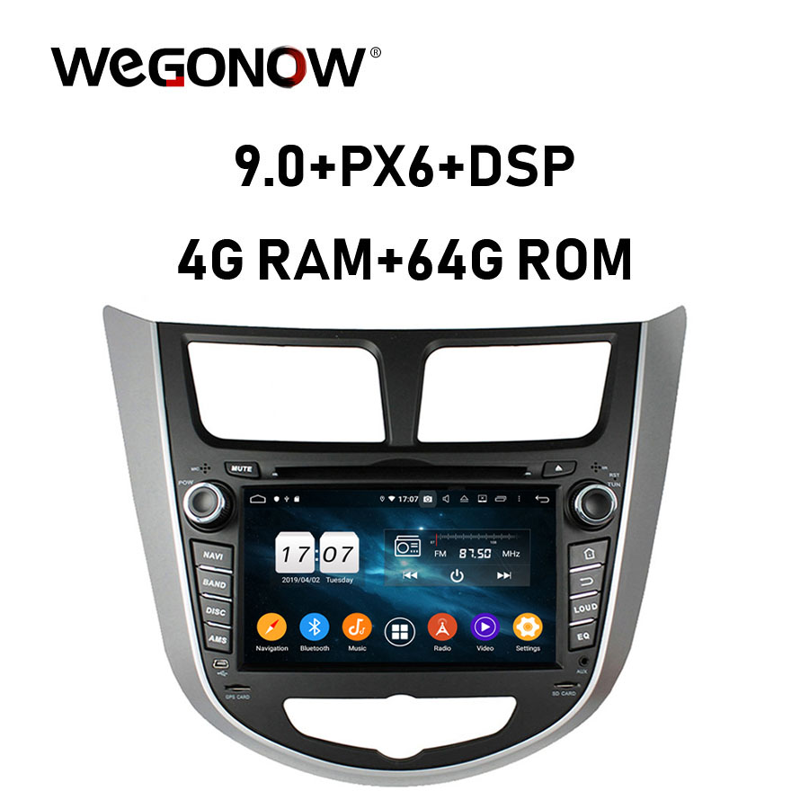 DSP Android 9.0 4G RAM Car DVD multimedia Player RDS Radio GPS map Bluetooth 5.0 WiFi For HYUNDAI Verna Accent Solaris 2011 2015Car Multimedia Player   -
