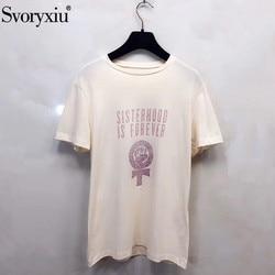 Svoryxiu marca de impresión de letras personalizadas de algodón de lino camiseta Casual de verano de las mujeres de moda blanca de manga corta Camiseta Tops