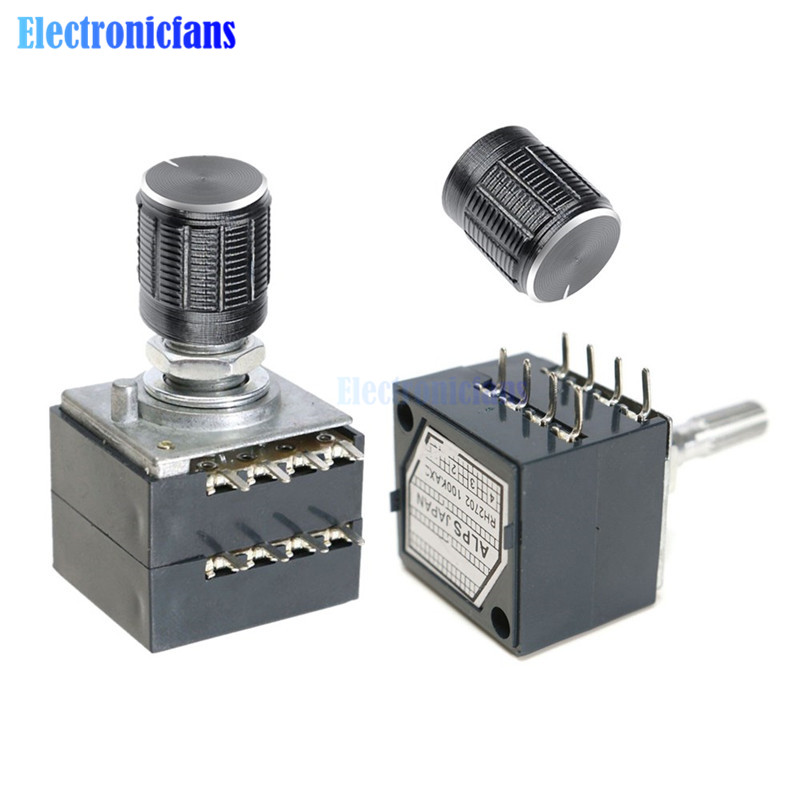 Rotary Potentiometer 50K 100K LOG ALPS RH2702 Audio Volume Control Pot Stereo W Loudness L With Potentiometer Knob Dia. 6mm Shaf