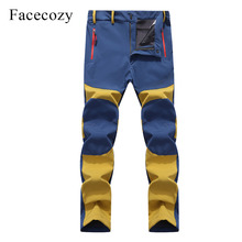 Facecozy Men Softshell Trekking Hiking Pants Winter Outdoor Waterproof Fleece Camping Male Sports Trousers for Hunting Fishing