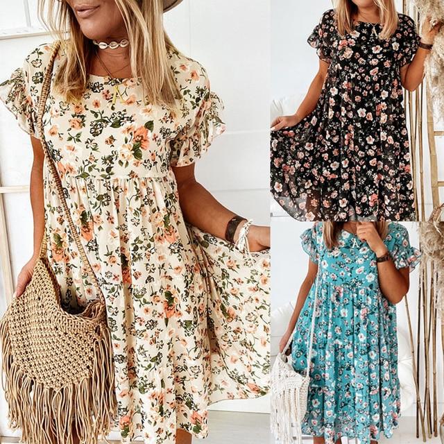 Casual Floral Print Summer Dress Boho Short Sleeve Woman Dress Female Loose Ruffles Mini Dresses For Women 2021 Robe Femme 4