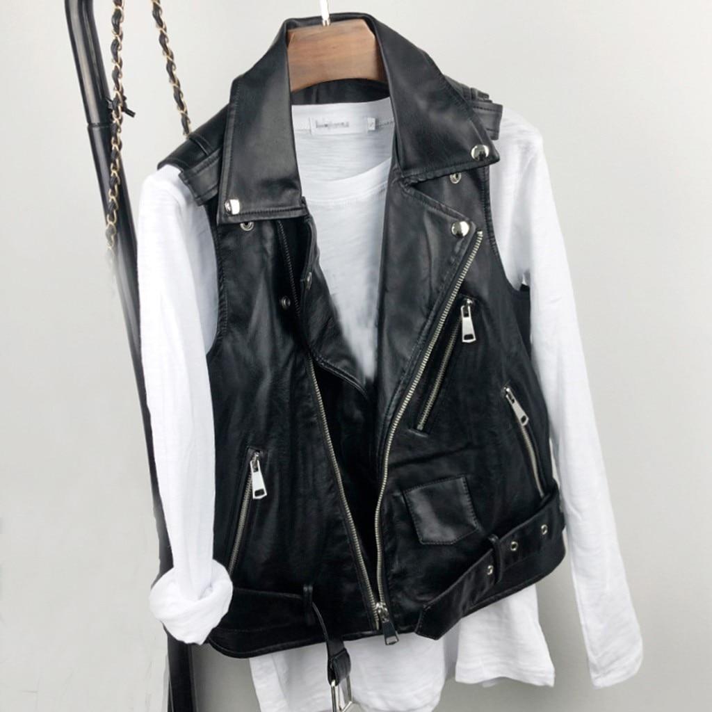 Men's Faux Leather Biker Vest Waistcoat Slim Fit Punk Sleeveless Belted Jackets