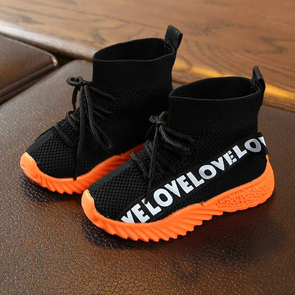 Children Kids Baby Girls Boys Letter Stretch Run Sneakers Sport Shoes Boots детская обувь kids shoes children shoes sneakers