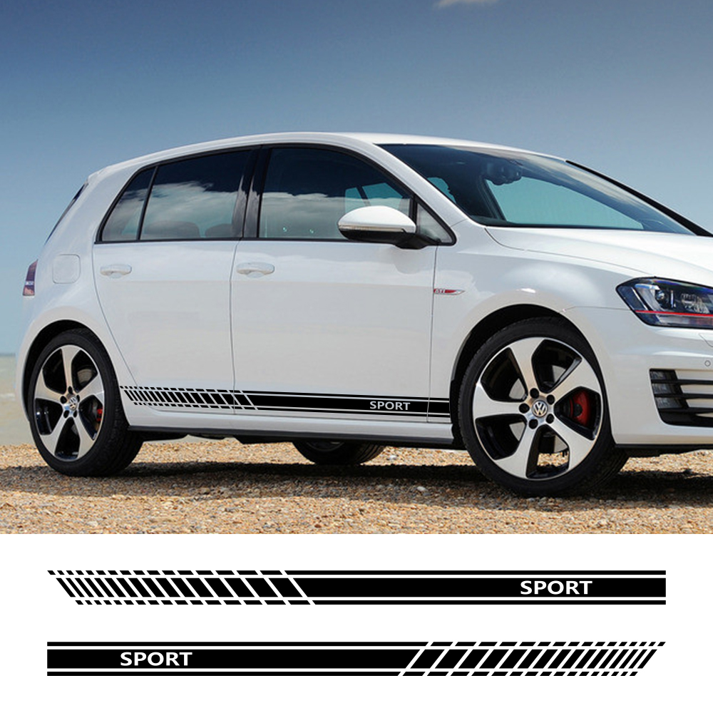 Sport Car Door Side Skirt Stripes Stickers For Volkswagen <font><b>VW</b></font> <font><b>Golf</b></font> 7 5 4 3 6 2 1 MK7 MK5 MK2 MK6 MK4 MK1 <font><b>MK3</b></font> <font><b>GTI</b></font> Auto Accessories image