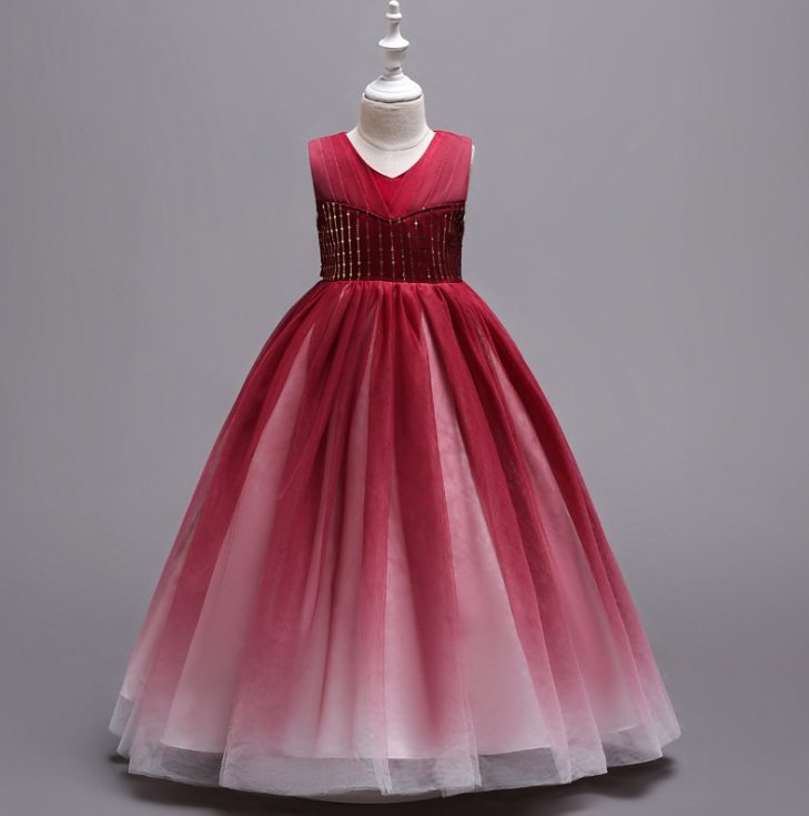 In Stock Size4//6//8//10//12//14 Red Halter Kids Formal Ball Gowns Flower Girls Dress