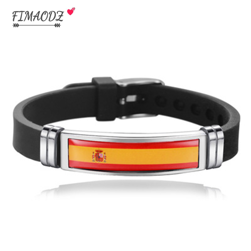 FIMAODZ USA Spain Flag Bracelet for Men Women Israel Germany Flags Adjustable Silicone Wristband Bangle 2020 Souvenir Gift